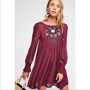 Free People Mohave embroidered woven mini Dress S